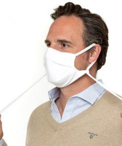 Mondkapje herbruikbaar biologisch katoen wit man met koordjes